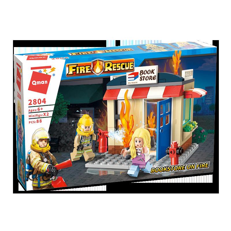 Qman Bộ đồ chơi xếp hình Mã 2804 – Cứu hỏa ở hiệu sách