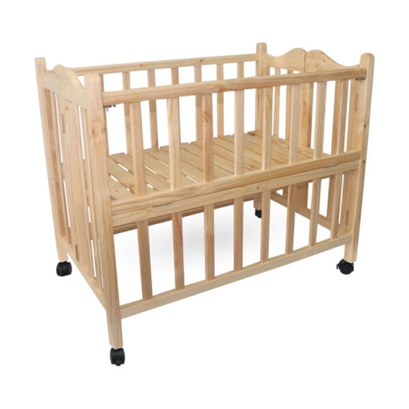 VINANOI Giường cũi trẻ em gỗ thông, có bánh xe VNC-107