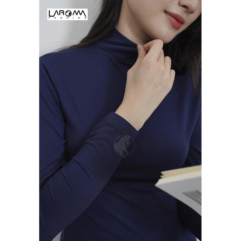Laroma Áo giữ nhiệt nữ cổ cao – Loại dày màu Xanh than