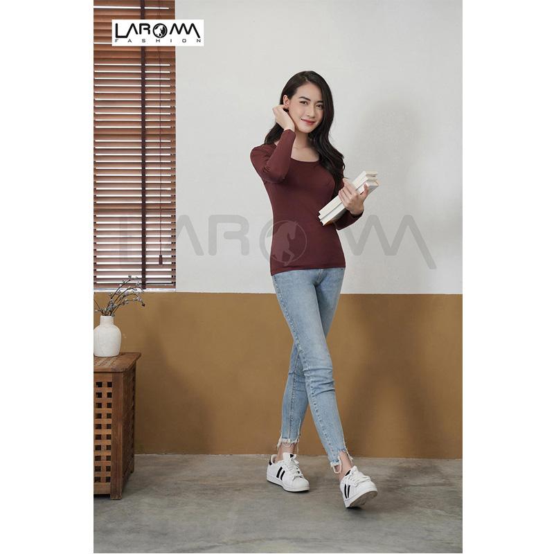Laroma Áo giữ nhiệt nữ cổ thấp – Loại dày màu Socola