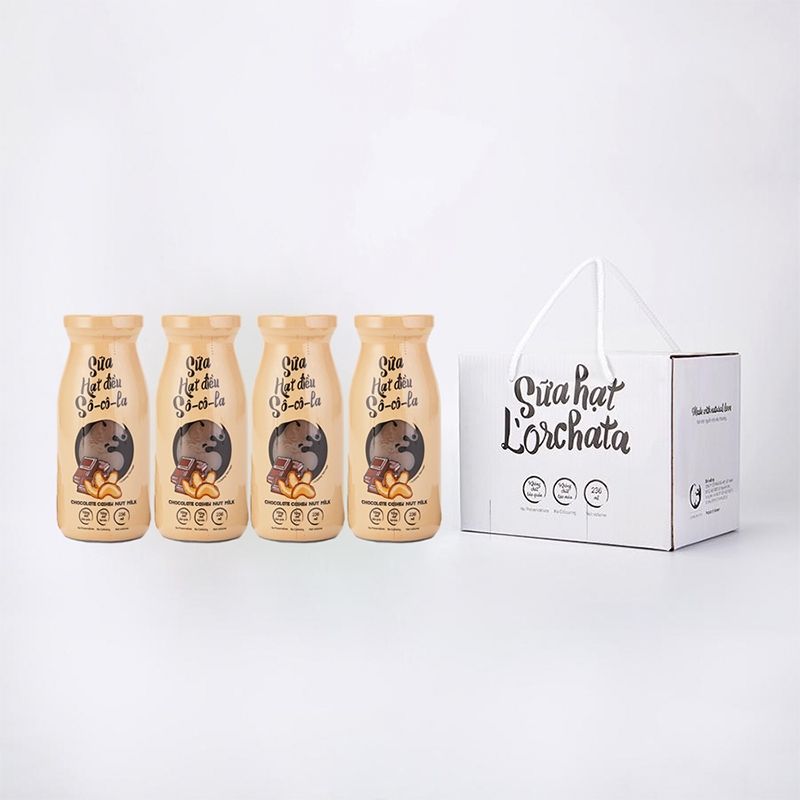 L'ORCHATA Hộp 4 chai Sữa hạt nguyên chất ít đường có 5 vị