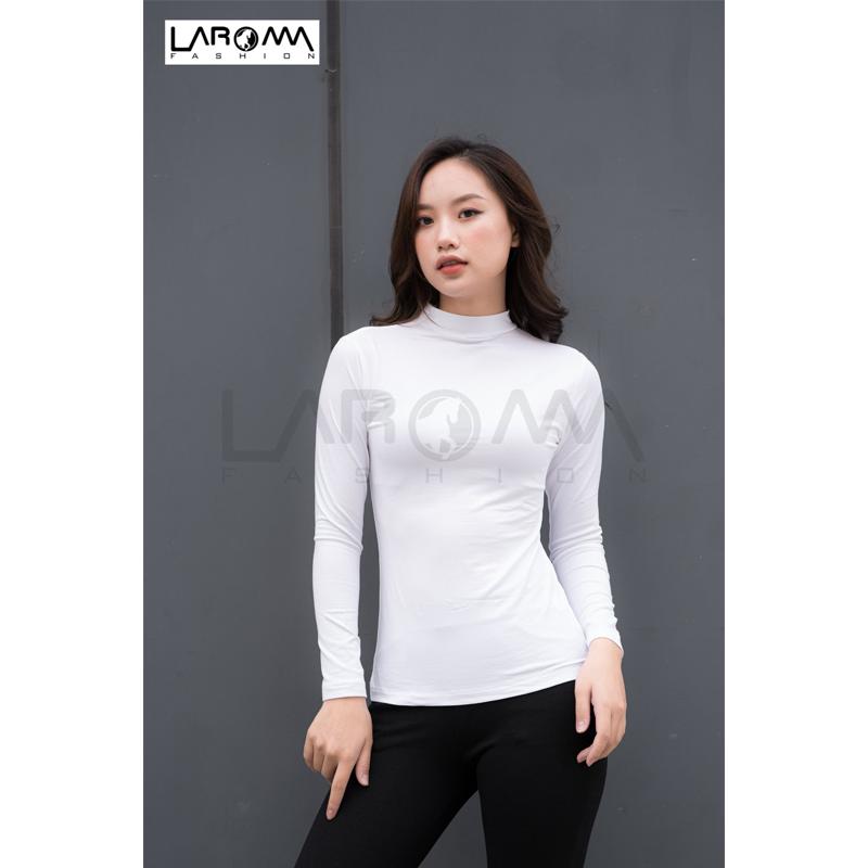 Laroma áo giữ nhiệt nữ cổ cao – loại dày màu trắng