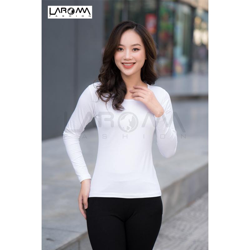 Laroma áo giữ nhiệt nữ cổ thấp – loại dày màu trắng